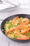 Shrimp, rice and pea Royalty Free Stock Photography
