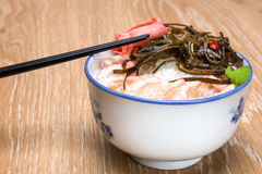 Shrimp with ricer and soy sauce Royalty Free Stock Photos