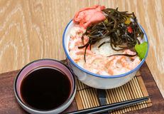 Shrimp with ricer and soy sauce Stock Photography