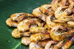 Shrimp roasted and banana leaf Stock Photography