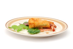 A shrimp-roll plate. Appertizer with shrimp-roll plate in service Stock Images