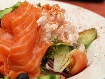 Shrimp salad. Closeup of salmon and shrimps salad stock photo