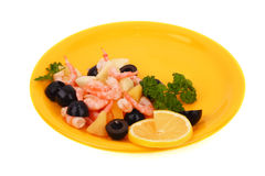 Shrimp salad. (prawn, olives, pineapple, apple, parsley and lemon). Soft shadow Royalty Free Stock Photography