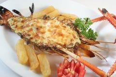 Shrimp salad. With mesh potato Stock Photo