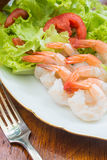 Shrimp Salad. Fresh Green Salad With Shrimps Royalty Free Stock Photo