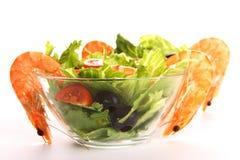 Shrimp salad. Fresh and tasty shrimp salad for two royalty free stock photos