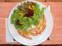Shrimp with salad. Plate of grilled shrimp with green salad Royalty Free Stock Images