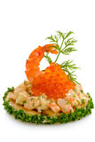 Shrimp Salad And Red Caviar Royalty Free Stock Image