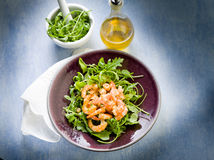 Shrimp salad with arugula Stock Image