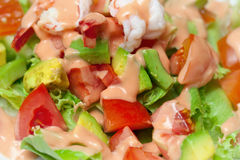 Shrimp salad with avocado close up Royalty Free Stock Photography