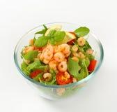 Shrimp salad. Bowl of spicy shrimp salad stock image