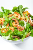 Shrimp salad with cherry tomatoes in bowl. Closeup. Healthy food concept Royalty Free Stock Images