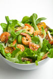 Shrimp salad with cherry tomatoes in bowl. Closeup. Healthy food concept Stock Photography