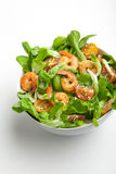 Shrimp salad with cherry tomatoes in bowl. Closeup. Healthy food concept Royalty Free Stock Image