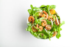 Shrimp salad with cherry tomatoes in bowl. Top view, copy space Royalty Free Stock Photo