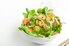 Shrimp salad with cherry tomatoes in bowl. On white background with a glass of water. Copy space Stock Photos
