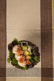 Shrimp with salad and mango in coconut Royalty Free Stock Photos