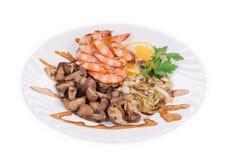 Shrimp salad with mushrooms Stock Photos