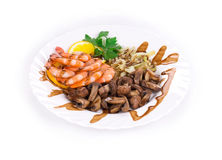 Shrimp salad with mushrooms Stock Images
