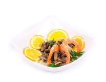 Shrimp salad with mushrooms close up. Royalty Free Stock Photography