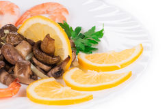 Shrimp salad with mushrooms. Royalty Free Stock Images