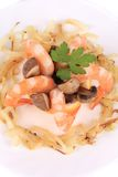 Shrimp salad with mushrooms and onions. Stock Photos