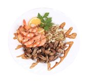 Shrimp salad with mushrooms and onions. Stock Images