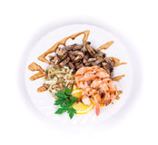 Shrimp salad with mushrooms. Stock Images