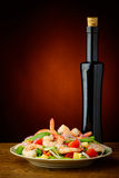 Shrimp salad and olive oil Royalty Free Stock Images