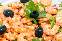 Shrimp Salad with Olives Royalty Free Stock Image