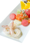 Shrimp and salad over white Royalty Free Stock Photo