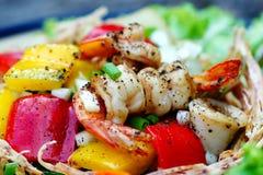 Shrimp salad pepper Stock Photos