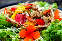 Shrimp salad pepper Stock Images