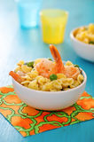 Shrimp salad with spaghetti Royalty Free Stock Image