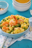Shrimp salad with spaghetti Stock Photo