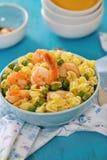 Shrimp salad with spaghetti Stock Photo
