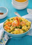 Shrimp salad with spaghetti Royalty Free Stock Photography