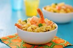 Shrimp salad with spaghetti Stock Image