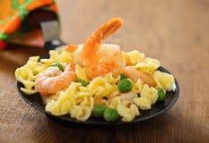 Shrimp salad with spaghetti Royalty Free Stock Photos