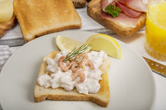 Shrimp salad on toast bread, ham and orange juice Stock Photography