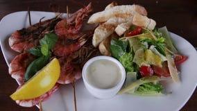 Shrimp salad with vegetables stock footage