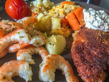 Shrimp Salaf and Fried Fish. On the Plate Royalty Free Stock Images