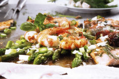 Shrimp and salmon fillet with asparagus Royalty Free Stock Images