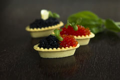 Shrimp salmon mousse parsley tartlets. toning. Royalty Free Stock Photos