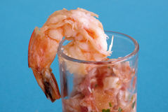 Shrimp & Salsa Shooter 2. An out-of-the-ordinary hors d'eouvre - fresh shrimp and salsa shooter royalty free stock image
