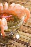 Shrimp with Salsa Verde stock photo