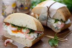Shrimp sandwiches Royalty Free Stock Image