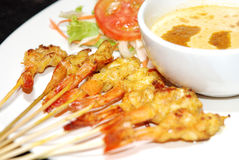 Shrimp satay. Famous Thai and Chinese food royalty free stock photo