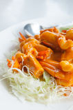 Shrimp sauce. Menu called shrimp sauce is a sweet and spicy Royalty Free Stock Photo