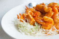 Shrimp sauce. Menu called shrimp sauce is a sweet and spicy Stock Photography